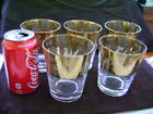 Gold with Silver Leaf Drinking Glasses 5 Total