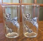 VINTAGE  FEDERAL GLASS TUMBLERS WITH SPOTTED PLAYING PUPPYS, DOGS, CUTE!
