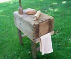 Old Wood Box Farm Table Rusted Nails Natural Patina Stained Legs Maine Made