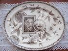 Large Antique PERAK Victorian English Aesthetic Brown Transferware Platter