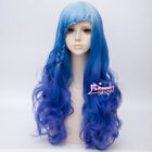 70 CM Mixed Blue Long Curly Hair Lolita Lady  Ombre Harajuku Anime Cosplay Wig