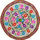 ROUND TABLE CLOTH THROW INDIAN BOHEMIAN FLORAL EMBROIDERY WORK HOME DECOR 35