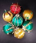 Vintage Christmas Decorationa Ornaments Satin Thread Beaded Pearl Pins Green Red