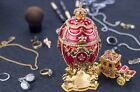 """Royal Imperial Red Faberge Egg: Extra Large 6.6"""" with Faberge carriage"""