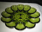 Anchor Hocking Deviled Egg 12 Eggs Plate Green Glass Excellent