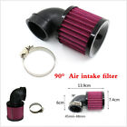 Black 90° Angled Round Moped Scooter ATV Mesh Air Filter Universal 45-48mm Inlet