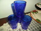 COBALT BLUE SUNFLOWER DESIGN 6 OUNCE JUICE GLASSES SET OF 4