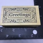 Outlines Rubber Stamp Mounted Greetings with Flourish Border