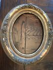 Antique Oval Wood and Gesso Gold Gilt Frame with rose Design