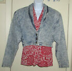 Vintage Yes Blue Jean Jacket Stone Washed Cropped Size L