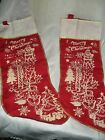 'S RETRO VINTAGE STENCIL CHRISTMAS STOCKINGS SANTA, TREE