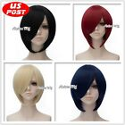 30CM Short Blue Red Gold Black Straight Hair Fashion Party Cosplay Basic Wigs