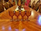 Vintage 4 Indiana Amber Glass Diamond Point Goblet 6 1/2