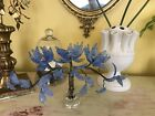 Antique Venetian Glass Flowers Blue Tree Magnolia Metalwork Branches Ornate