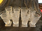 Vintage Clear Glass Footed Thumbprint Pattern Drinking Glasses 6