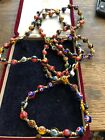 Old Vintage Venetian Murano Millefiori Art Glass Bead Necklace Long 45 Inches