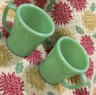 TWO VINTAGE FIRE KING JADITE JADEITE GREEN GLASS COFFEE MUGS CUPS.