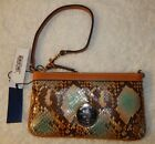 Dooney & Bourke Brown Green Python Snake Embossed Leather Large Wristlet Bag 2