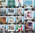 Christmas Theme Fabric Bath Shower Curtain Set &12 Hooks Xmas Snowman and Animal
