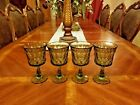 4 Vintage Indiana Colony Glass Olive Green Water Wine Goblets Very Heavy