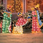 3pc Lighted Nativity Scene 3 Wise Men Display Outdoor Christmas Yard Decoration