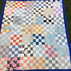 Antique Vintage 1930's 1940s Handmade QUILT, Patchwork Calico Chambray Workwear