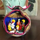 Mexican Handcarved  Painted Christmas Nativity Scene in Gourd Mexico FOLK ART