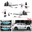 Pair Hollow Hunt Forest Reindeer Graphic Car SUV Vinyl Decal Stickers Waterproof
