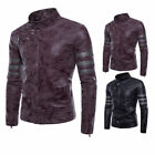 Mens Black Vintage Faux Leather Jacket Slim Fit Biker Motorcycle Cafe Racer New