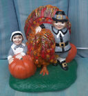 Vintage THANKSGIVING CenterpieceCERAMIC PILGRIMSTURKEY 7 1 2 tall LIGHTED