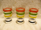 3 Vintage Retro 50s-60s Anchor Hocking Colored Rings Drinking Glasses