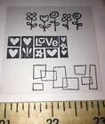 149 3 Rubber Stamps Love Hearts Flowers Tulip Geometric