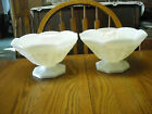 2 Large Vintage Milk Glass Footed Fruit Compotes Grapes/Leaves