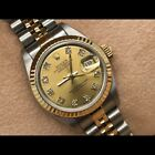 Box incl. - Rolex Lady Datejust Gold 26mm Champagne Diamond Dial 69173 Oyster