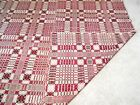 Antique Jacquard COVERLET ~ pre Civil War ~ Homespun Southern Blanket