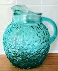 Anchor Hocking MILANO Turquoise Aqua Pitcher 96 oz FLAWLESS!  Mid-Cenury Modern