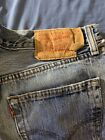 VINTAGE LEVIS 501 33x29 BUTTON FLY JEANS MEDIUM BLEACHED WASH DISTRESSED NICE