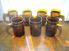 7 Dark Amber Vintage Hazel Atlas Beer Mugs Wood Handles Hammered Metal Bands