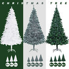 5FT 6FT 7FT 8FT Artificial Christmas Pine Tree Holiday Green White Snow Flocked
