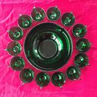 ANCHOR HOCKING 15 PIECE FOREST GREEN CHRISTMAS PUNCH BOWL SET