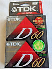 TDK High Output D60 2 Pack Normal Bias Audio Cassette Tape Factory Sealed