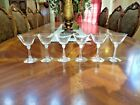 6 Vintage Mid Century Hand Blown Crystal Sherry Cordial Stemmed Cocktail Glasses