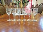 6 Vintage Romania Hand Blown Etched Crystal Floral Stemmed Wine Glasses Romanian