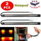 2x 8'' Motorcycle 48 LED Integrated Brake Stop Turn Signal Tail Light Strips Bar