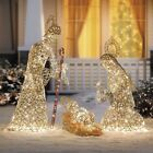 3pc Set Gold Faux Grapevine Lighted Nativity Display Art Outdoor Christmas Decor