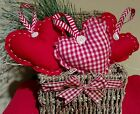 Primitive Valentines Day Homespun Heart Ornies  Bowl fillers set of 3 red fabric