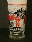 Vintage LIbbey glass Oriental Asian motif red black white 5 1/4