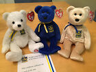 3 Ty UK Exclusives PFC with CERT ~ POMPEY ~ PREMIER  Beanie Baby Bears ~ Mint