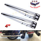 4 Chrome Mufflers Exhaust Pipes For Harley Touring Glide FLHT FLHR 1995 2016 US