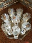 Libbey 8 ounce Water Glasses Set of 8 Frosted 1960's 24k Gold Trim Cocktails Vtg